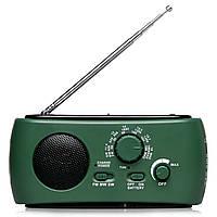 Фонарь с динамо Lesko RD322T зеленый с радио антеной FM AM SW