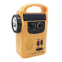 Фонарь с динамо Lesko RD339 желтый с FM USB и солнечной панелью