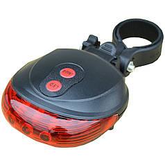 Стоп сигнал Lesko велосипедный Красный спортивный с держателем на раме питание от батареек