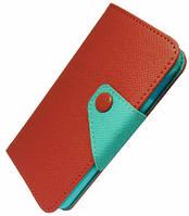 """Кожаный чехол-книжка """"Devia"""" Rainbow Flip красный для iPhone 5/5S/SE"""
