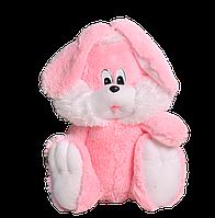 Заяц Милашка сидячий плюшевый 35 см розовый