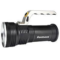 ✓Фонарь Lomon 1003 Черный LED противоударный три режима работы металл + пластик