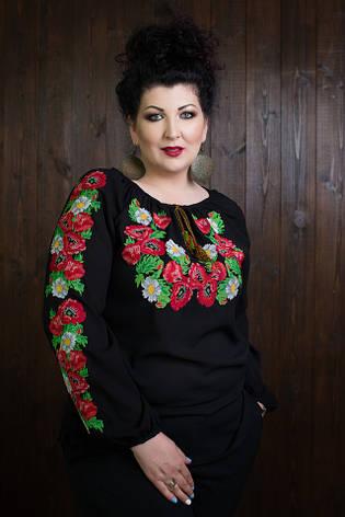 Женская вышиванка с длинными рукавами размеры 42-70, фото 2