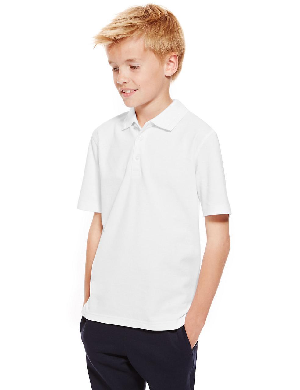 Школьные рубашки-поло Slim Fit белые с коротким рукавом на мальчиков 7-8-9-10 лет. George (Англия)