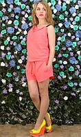 Летний комбинезон с шортами розовый