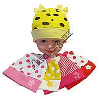 """Шапка детская для новорожденных девочек """"Горох Бантики"""" рисунок ассорти одинарный трикотаж Украина Оптом"""