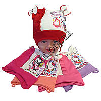"""Шапка детская для девочек """"Китти"""" 2-3 года рисунок ассорти одинарный трикотаж Украина Оптом"""