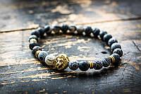 Мужской каменный браслет mod.GrayLion gold