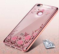 Чехол бампер с розовыми стразами Xiaomi redmi 4x