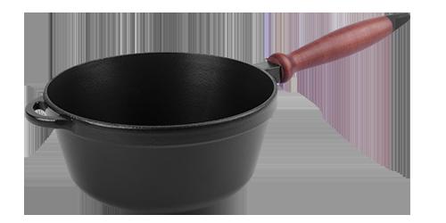 Кастрюля  чугунная эмалированная, с деревянной ручкой без крышки. Матово-чёрная. Объем 2,0 литра.