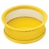 Подставка для скрепок Optima О36303-05, желтая, металическая, круглая маленькая