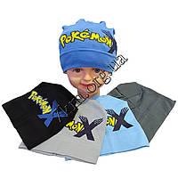"""Шапка детская для мальчиков """"Pokemon"""" 3-5 лет одинарный трикотаж Украина Оптом"""