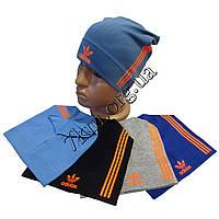 """Шапка детская для мальчиков """"Adidas-полоска оранж"""" 6-12 лет одинарный трикотаж Украина Оптом"""