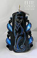 Свеча с кошкой в технике точечная роспись от ELITE CANDLES 100% ручная робота, фото 1
