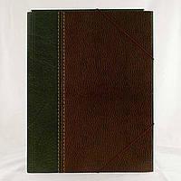 Папка на резинке А4 Кожа зеленая, ТП004П54ГБР