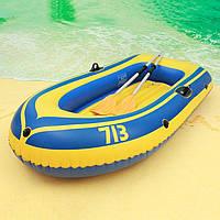Надувная лодка двухместная с веслами