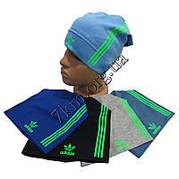 """Шапка детская для мальчиков """"Adidas-полоска салат"""" 6-12 лет одинарный трикотаж Украина Оптом"""