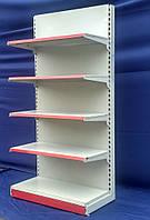 """Торговый стеллаж односторонний (пристенный) """"Маго"""" 210х100 см. Цвет светло серый (RAL 7035), Б/у, фото 1"""