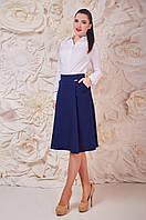 Синяя модная юбка женская с карманами Джина Размер 44-50