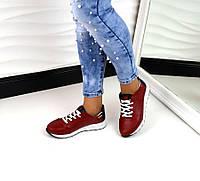 Стильные женские кроссовки C@T материал натуральная кожа, красный цвет