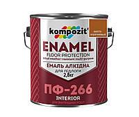 Эмаль алкидная KOMPOZIT ПФ-266 для пола желто-коричневая, 2,8кг
