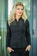 Черная Рубашка с кружевными вставками, фото 1
