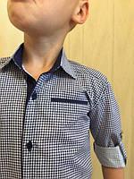 Сорочка для мальчика белая в голубую клетку рукава  трансформеры