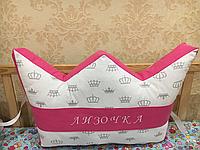 Подушка корона с вышивкой, защита в кроватку