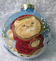"Шар новогодний 65 мм ""Котик с рыбой"""
