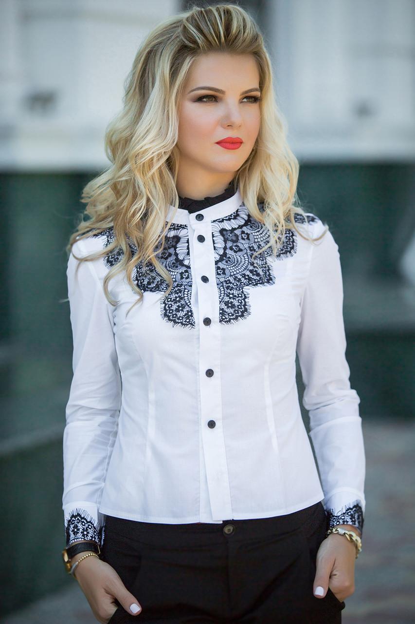 Белая блузка с черным кружевом доставка