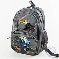 Школьный рюкзак для мальчика с ортопедической спинкой - серый - 9954