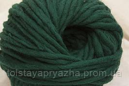 Толстая пряжа меринос 5 мм темно-зеленый