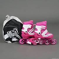 Ролики 1002 размер 35-38   цвет розовый
