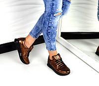 Стильные женские кроссовки Chanel материал натуральная кожа. Цвет бронза