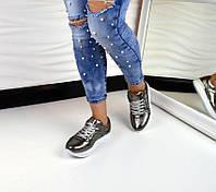 Стильные женские кроссовки Chanel материал натуральная кожа. Цвет никель