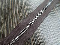 Молния металлическая №5 никель на коричневой основе 304 Италия