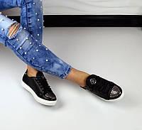Стильные женские кеды PP с шипами, материал натуральная кожа, металлический носок черный цвет
