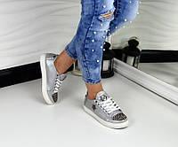 Стильные женские кеды PP с шипами, материал натуральная кожа, металлический носок цвет серебро
