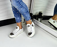 Стильные женские кеды PP с шипами, материал натуральная кожа, металлический носок цвет белый