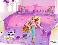 """Комплект постельного белья """"Elway"""" (Элвей) подростковый 3D """"Барби"""" №TD401"""