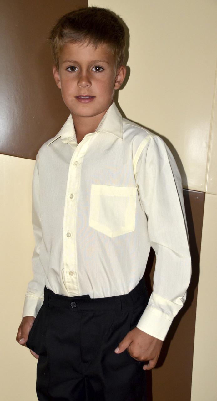 Рубашка классическая, цвет светло-жёлтый, длинный рукав., фото 1
