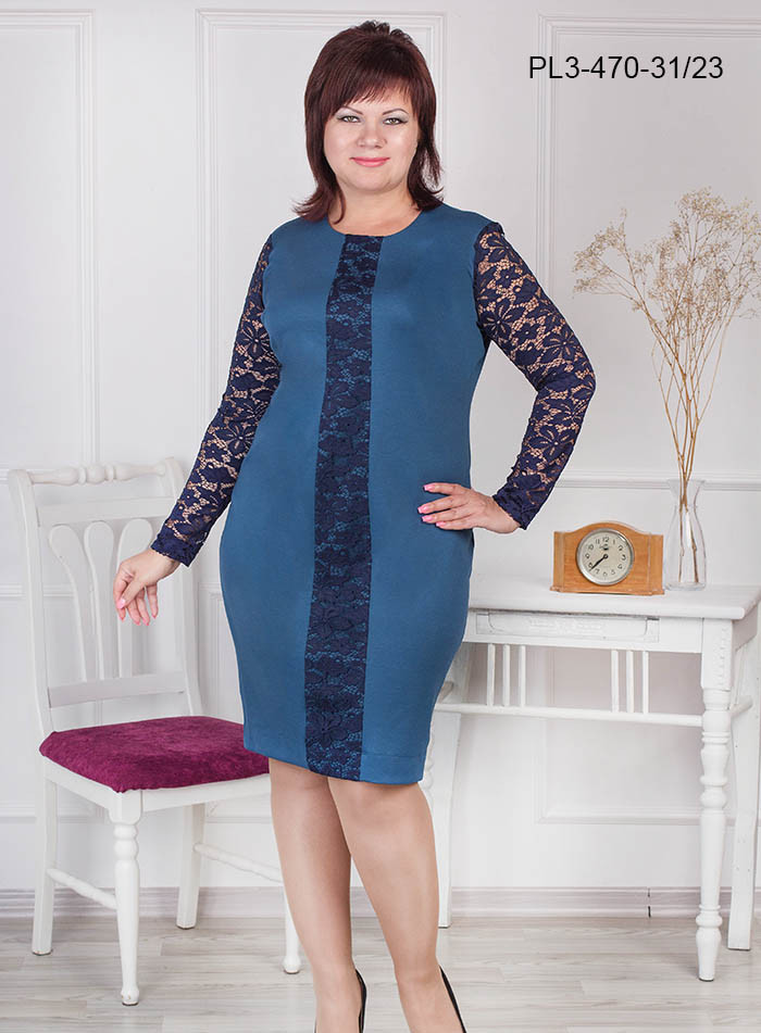 Женское платье полуприлегающего силуэта цвет морская волна размер 52-62 / больших размеров