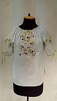 """Вышиванка дизайнерская вышитая блузка из белой х/б ткани с разноцветной машинной вышивкой блузка """"Колокольчик"""""""