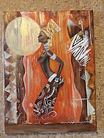 "Картина ""Африканские мотивы"", холст, масло (30х45)"