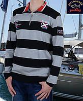 Свитер мужской на молнии Paul Shark-158 светлосерый