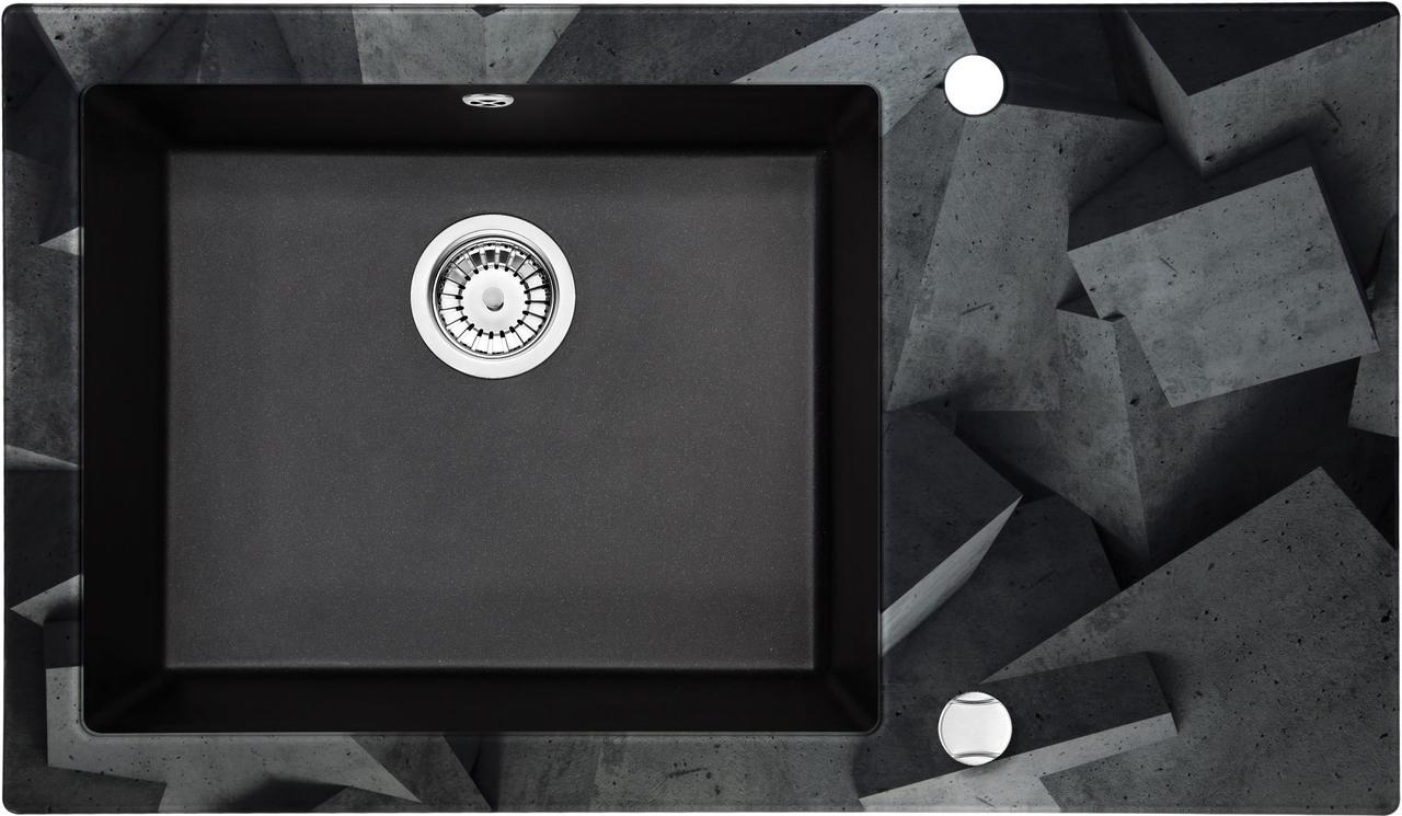Кухонная мойка Deante CAPELLA стекло (бетонные блоки)/гранит (графитовый металлик) край граненый