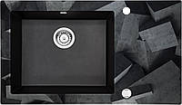 Кухонная мойка Deante CAPELLA стекло (бетонные блоки)/гранит (графитовый металлик) край граненый, фото 1