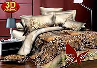 Двуспальное постельное белье 3D, ТМ TAG Леопард - 107д, Украина