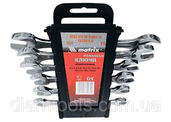 Набір ключів ріжкових, 6 х 22 мм, 8 шт., CrV, хромовані// MTX