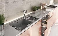 Кухонная мойка Deante CAPELLA стекло (бетонные блоки)/гранит (серый металлик) край круглый, фото 1